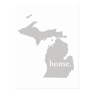 Michigan home silhouette state map postcard