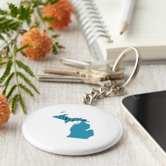 Michigan Home State Basic Round Button Keychain