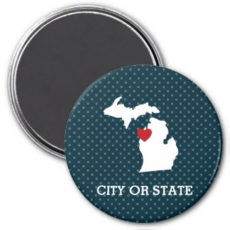 Michigan Home State City Map - Custom Heart 3 Inch Round Magnet