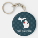 Michigan Home State City Map - Custom Heart Keychain