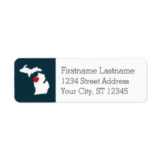 Michigan Home State City Map - Custom Heart Return Address Label