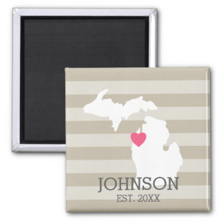 Michigan Home State City Map - Custom Wedding 2 Inch Square Magnet