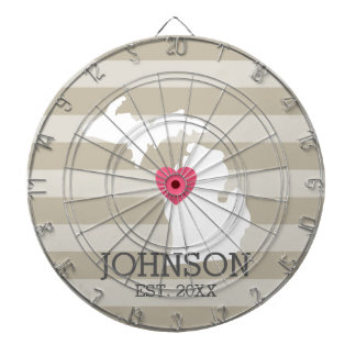 Michigan Home State City Map - Custom Wedding Dart Board
