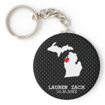 Michigan Home State City Map - Custom Wedding Keychain