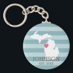 "Michigan Home State City Map - Custom Wedding Keychain<br><div class=""desc"">Home is where the heart is! You can add the bride and groom names or last name or even your city to this whimsical design. To move the heart,  you must open the design tool to move it around.</div>"