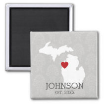 Michigan Home State City Map - Custom Wedding Magnet