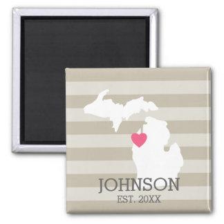 Michigan Home State City Map - Custom Wedding Magnet