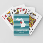 "Michigan Home State City Map - Custom Wedding Playing Cards<br><div class=""desc"">Home is where the heart is! You can add the bride and groom names or last name or even your city to this whimsical design. To move the heart,  you must open the design tool to move it around.</div>"