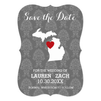 Michigan Home State City Map Wedding Save the Date Card