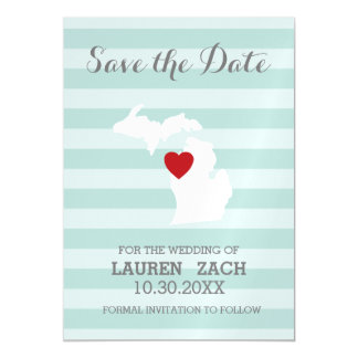 Michigan Home State City Map Wedding Save the Date Magnetic Card