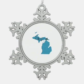 Michigan Home State Snowflake Pewter Christmas Ornament
