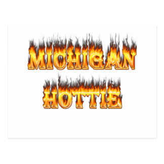 Michigan hottie fire and flames postcard