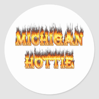 Michigan hottie fire and flames round stickers