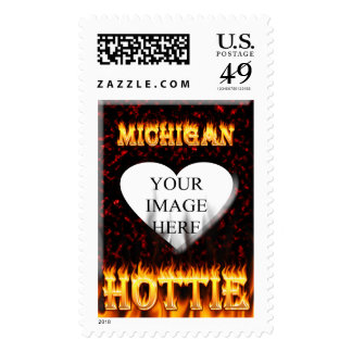 Michigan Hottie fire and red marble heart. Postage Stamp