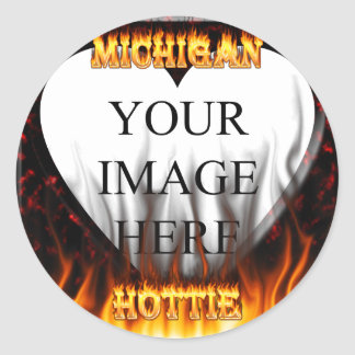 Michigan Hottie fire and red marble heart. Sticker