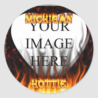 Michigan Hottie fire and red marble heart. Round Sticker