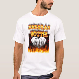 Michigan Hottie fire and red marble heart. T-Shirt