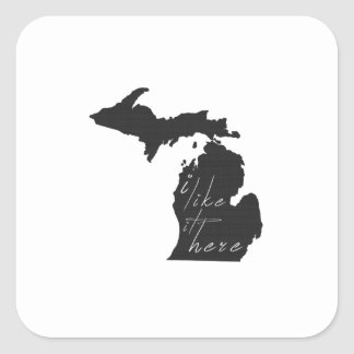 Michigan I Like It Here State Silhouette Black Square Sticker