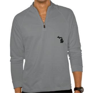 Michigan I Like It Here State Silhouette Black T-Shirt