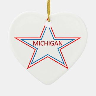 Michigan in a star. ceramic ornament