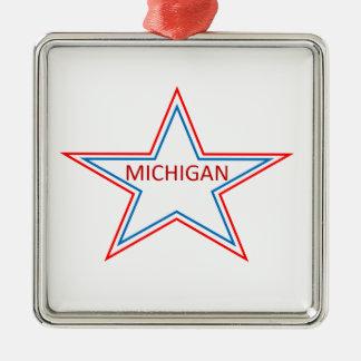 Michigan in a star. metal ornament
