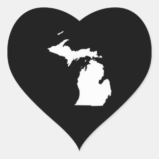 Michigan in White and Black Heart Sticker