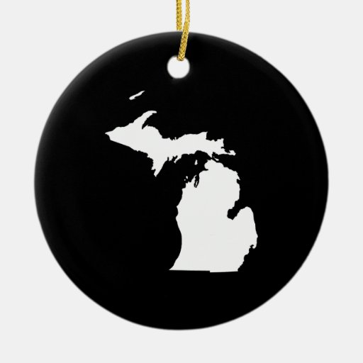 Michigan in White and Black Double-Sided Ceramic Round Christmas Ornament