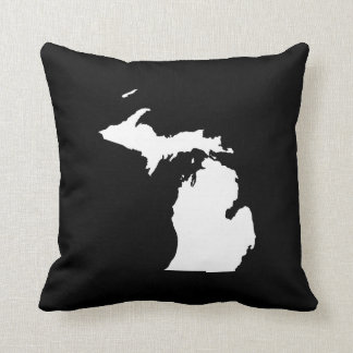 Michigan in White and Black Throw Pillow
