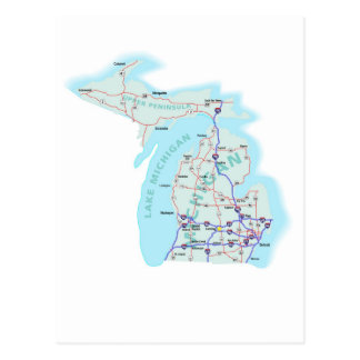 Michigan Interstate Map Postcard