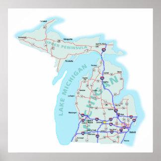 Michigan Interstate Map Print