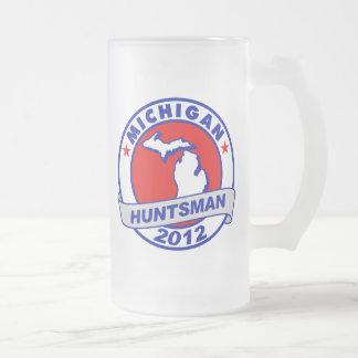 Michigan Jon Huntsman 16 Oz Frosted Glass Beer Mug