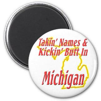Michigan - Kickin' Butt 2 Inch Round Magnet