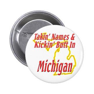 Michigan - Kickin' Butt Pinback Button