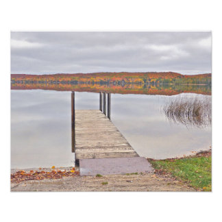 """""""MICHIGAN LAKE SURROUNDED BY FALL COLORS; SKY REFL POSTER"""