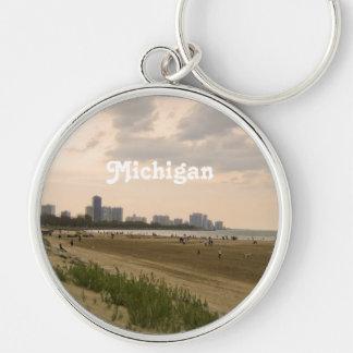 Michigan Landscape Silver-Colored Round Keychain