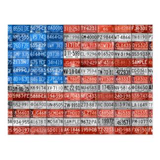 Michigan License Plate Flag of USA Postcard