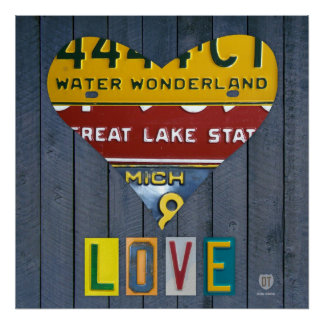 Michigan License Plate Love Heart Vintage Art Poster