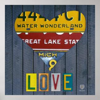 Michigan License Plate Love Heart Vintage Art Poster