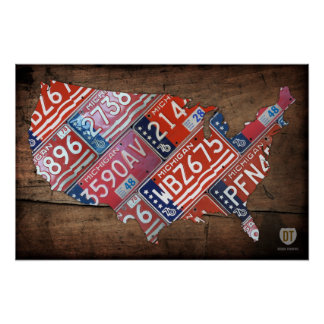 Michigan License Plate Map of the USA 1976 Poster