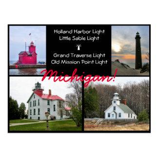 Michigan Light Houses Postcard