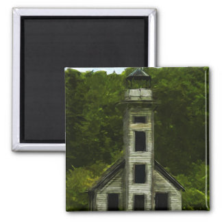 Michigan Lighthouse Abstract Impressionism 2 Inch Square Magnet