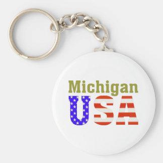 ¡Michigan los E.E.U.U.! Llavero Redondo Tipo Pin