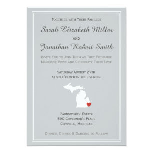 Michigan Love Customizable Wedding Invitation
