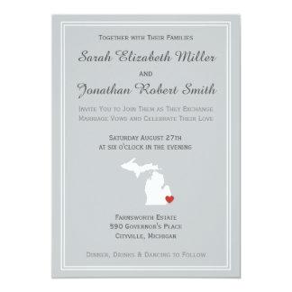 "Michigan Love - Customizable Wedding Invitation 5"" X 7"" Invitation Card"