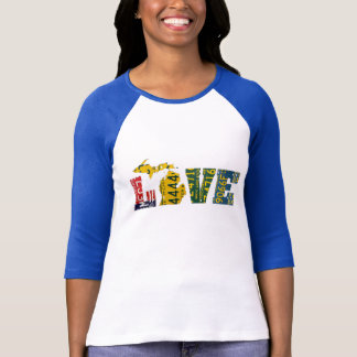 Michigan LOVE Recycled License Plate Art Map Shirt