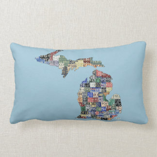 Michigan Love Recycled Vintage License Plate Art Lumbar Pillow