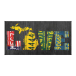 Michigan Love Vintage License Plate Word Art Canvas Print