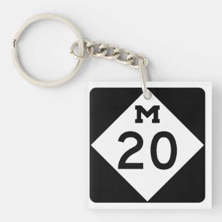 Michigan M-20 Llavero Cuadrado Acrílico A Doble Cara