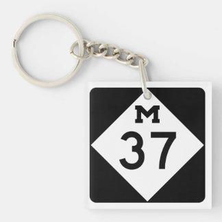 Michigan M-37 Llavero Cuadrado Acrílico A Doble Cara