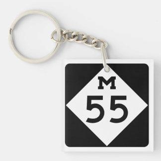 Michigan M-55 Llavero Cuadrado Acrílico A Doble Cara